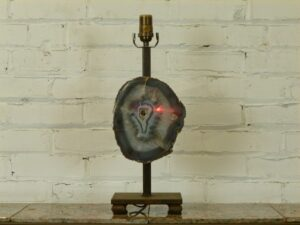 Ferro Designs LLC agate gemstone custom iron table lamp with a dark iron base.