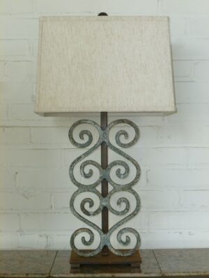Ferro Designs LLC custom iron table lamp with a blue, distressed finish and a dark iron base. Paired with a 15 inch rectangle linen lamp shade.