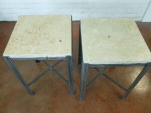 Ferro Designs LLC custom iron end table with a steel base finish and a travertine tile top.