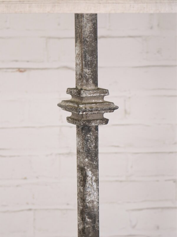 Custom iron floor lamp with a gray, distressed finish.