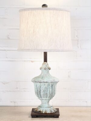 Custom iron table lamp with a patina green finish and a dark iron base. Paired with a 12 inch linen drum lamp shade.