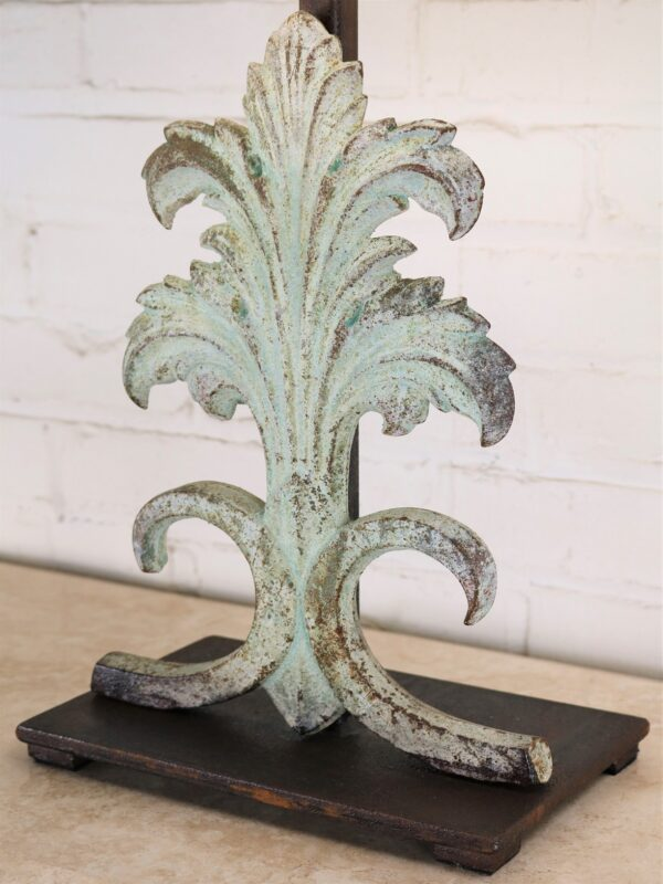Custom iron table lamp, acanthus, iron base, patina green finish, linen lamp shade