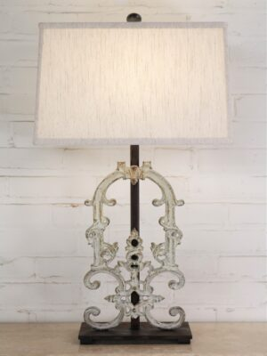 Custom iron table lamp, iron base, linen shade, white patina