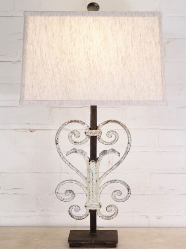Heart scroll custom iron table lamp with linen lamp shade