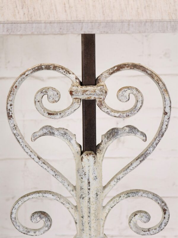 White, distressed finish on heart scroll custom iron table lamp