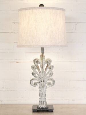 Plume custom iron table lamp with a white, distressed finish and a pewter base. Paired with a 12 inch linen drum lamp shade.