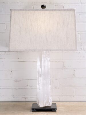 Selenite crystal custom iron table lamp with a pewter base. Paired with a 16 inch rectangle linen lamp shade.