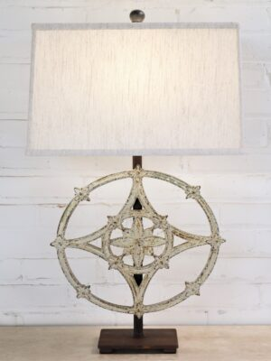 Round cathedral custom iron table lamp with a white, distressed finish and a dark iron base. Paired with a 17 inch rectangle linen lamp shade.