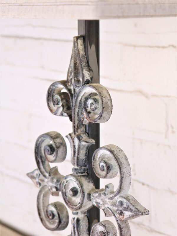 Cross custom iron table lamp with a white, distressed finish