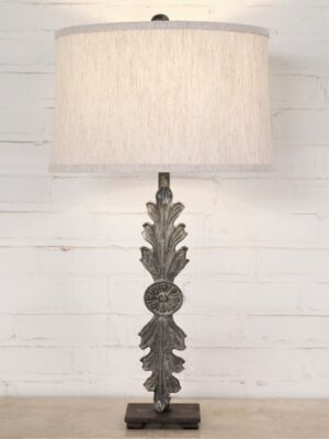 Leaf custom iron table lamp with a gray, distressed finish on a dark iron base