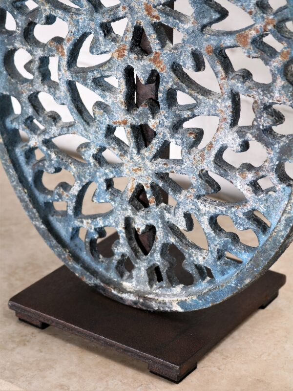 Filigree custom iron table lamp with a blue distressed finish and a dark iron base.