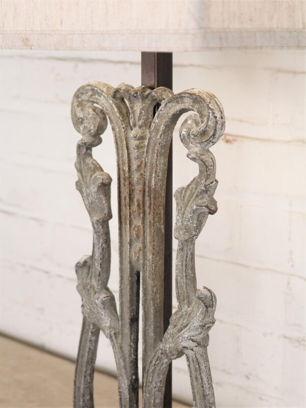 Tulip custom iron table lamp with a gray, distressed finish.
