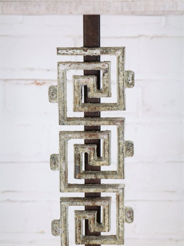 Meandros-greek key custom iron table lamp with a white, distressed finish.