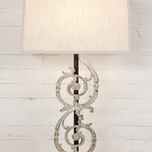 Pontalba custom iron table lamp with a white, distressed finish and a dark iron base. Paired with a 17 inch rectangle linen lamp shade.