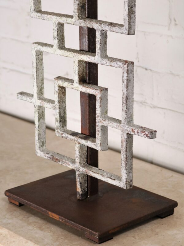 Squares custom iron table lamp with a white, distressed finish and a dark iron base.