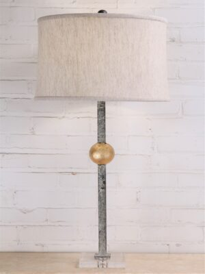 Gold leaf ball custom iron table lamp with a white, distressed finish and an acrylic base. Paired with a 17 inch linen drum lamp shade.