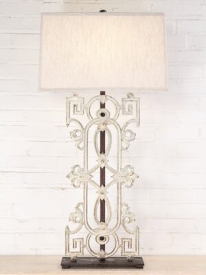 Greek style custom iron table lamp with a white distressed finish and a dark iron base. Paired with a 19 inch rectangle linen lamp shade.