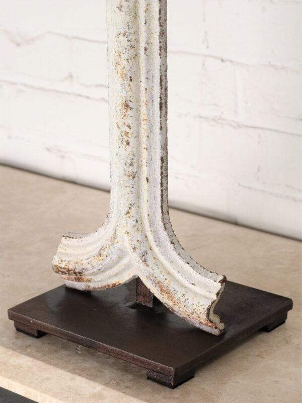 Diamond column custom iron table lamp with a white, distressed finish and a dark iron base.