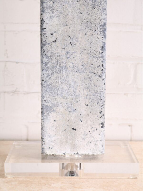 Rectangle column custom iron table lamp with a white, distressed finish and an acrylic base.