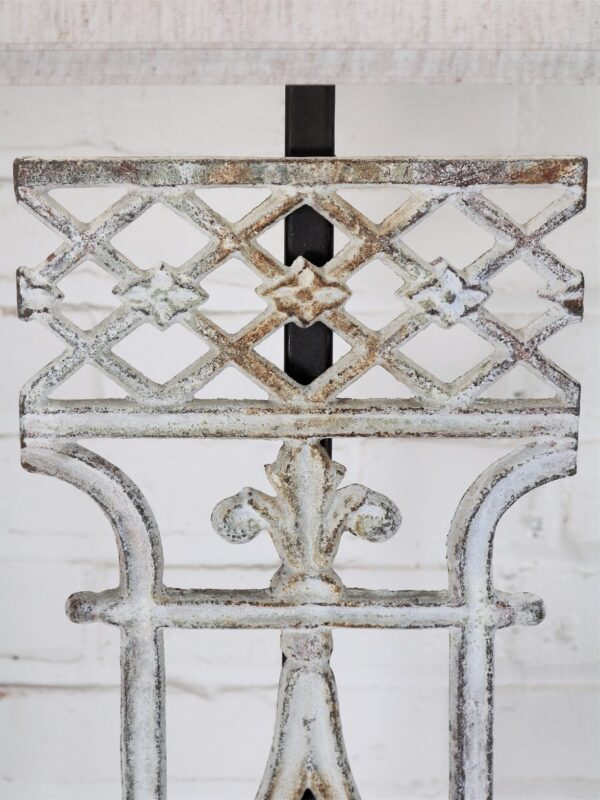 French custom iron table lamp with a white, distressed finish.