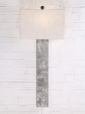 Rectangle post custom iron wall sconce with a white, distressed finish. Paired with a half rectangle linen lamp shade.