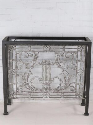 Custom iron console table by Ferro Designs LLC with a white, distressed finish and a dark iron base.