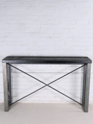 Custom iron console table by Ferro Designs LLC with a barn wood top and a steel finish base.