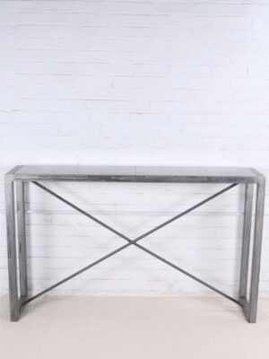 Custom iron console table by Ferro Designs LLC with a steel finish and a tile top.