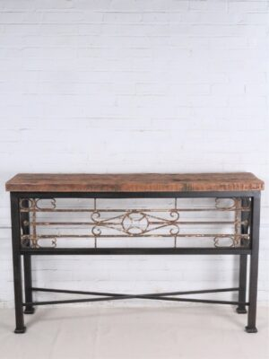 Custom iron console table by Ferro Designs LLC with a dark iron base finish and a barnwood top.