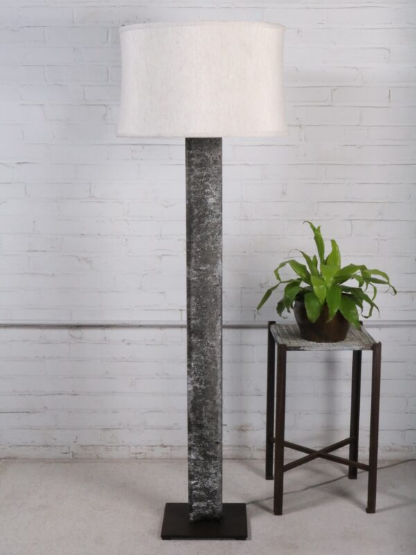 Ferro Designs LLC rectangle post custom iron floor lamp with a gray, distressed finish and a dark iron base. Paired with a 19 inch linen drum lamp shade.
