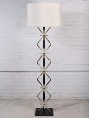 Ferro Designs LLC Starburst custom iron floor lamp with a white, distressed finish and a dark iron base. Paired with a 19 inch linen drum lamp shade.