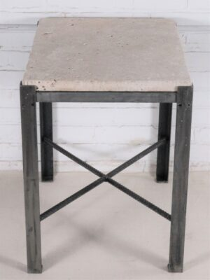 Ferro Designs LLC custom iron end table with a steel finish and a travertine tile top.