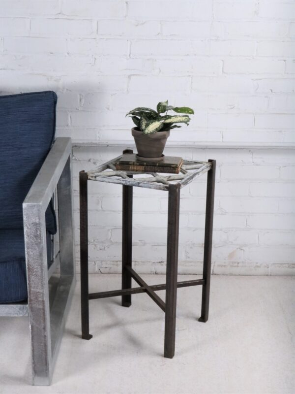 Ferro Designs LLC custom iron drink table or end table with a white distressed top and a dark iron base.