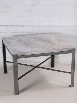 Ferro Designs LLC custom iron coffee table with a steel finish and a travertine tile top.