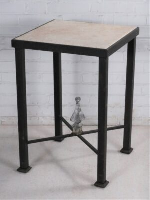 Ferro Designs LLC custom iron end table with a dark iron base finish and a tile top.