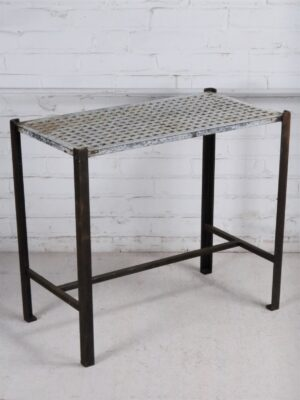 Ferro Designs LLC custom iron drink table or end table with a dark iron base finish and a white, distressed cast iron top.