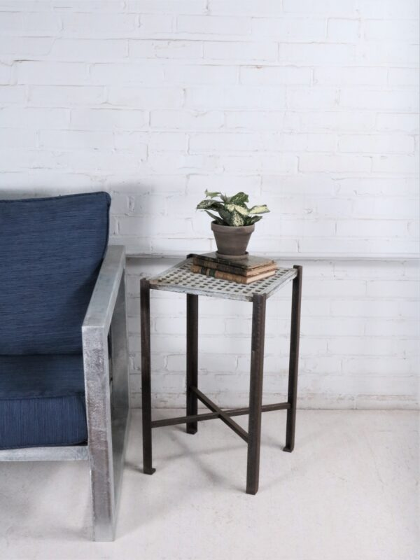 Ferro Designs LLC custom iron drink/end table with a white, distressed finish and a dark iron base.