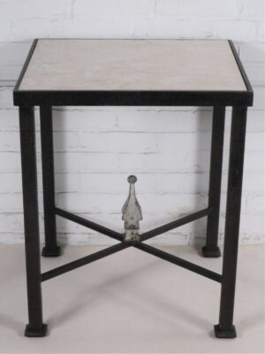 Ferro Designs LLC custom iron end table with a dark iron base finish and a travertine tile top.