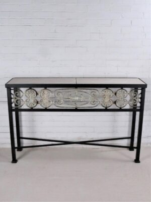 Custom iron console table by Ferro Designs LLC with a dark iron base finish and a tile top.
