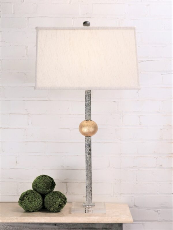 Gold leaf ball custom iron table lamp with a white, distressed finish and an acrylic base. Paired with a 16 inch linen rectangle lamp shade.