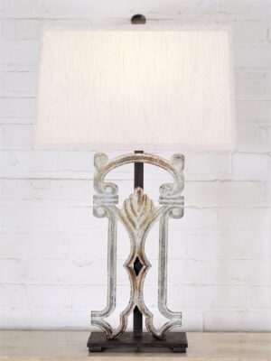 Ferro Designs LLC custom iron table lamp with a white, distressed finish and a dark iron base. Paired with a 16 inch rectangle linen lamp shade.