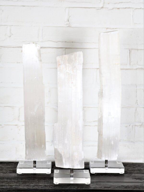 Selenite on Acrylic Base. Set of three